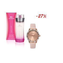 Zestaw LACOSTE TOUCH OF PINK + SEKONDA ROSE GOLD STONE